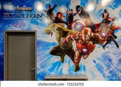 LAS VEGAS, NV, USA - SEP 20, 2017: Marvel superheroes Iron Man, Thor, Hulk, Black Widow, Hawkeye, Vision, Vanda Scarlet Witch at the  Avengers Station complex in Las Vegas.