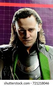 LAS VEGAS, NV, USA - SEP 20, 2017: Tom Hiddleston as Loki on the screen Avengers Station complex in Las Vegas.