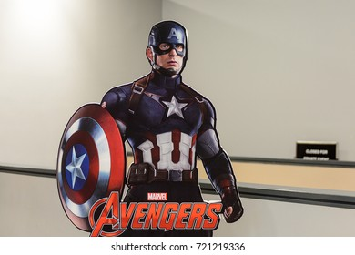 LAS VEGAS, NV, USA - SEP 20, 2017: Captain America's poster at the  Avengers Station complex in Las Vegas.