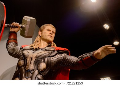 LAS VEGAS, NV, USA - SEP 20, 2017: Chris Hemsworth as Thor at the Avengers Station complex in Las Vegas.