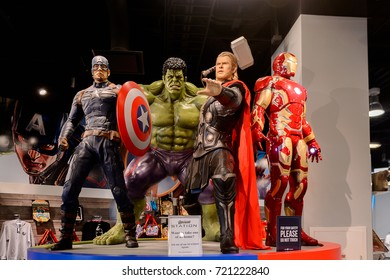 LAS VEGAS, NV, USA - SEP 20, 2017: Captain America, Hulk, Thor and Iron man at the Avengers Station complex in Las Vegas.