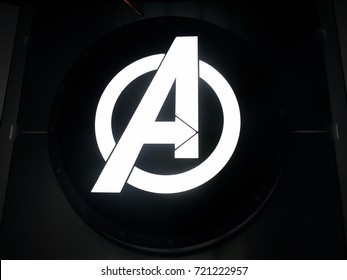 LAS VEGAS, NV, USA - SEP 20, 2017: The Marvel  Avengers logo Station complex in Las Vegas.
