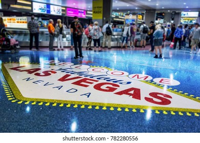 Las Vegas, NV-AUG15,2017: McCarran International Airport. Welcome LV. JUL'17 marked the busiest month in McCarran Airport's history with 4.32 million airline passengers, topping a record set in AUG'07