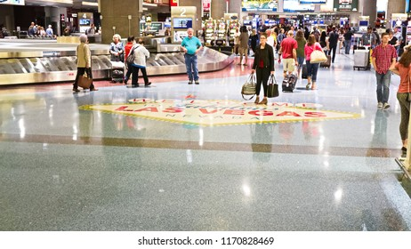 LAS VEGAS, NV/USA - 07 OCT 2017 - McCarran International Airport (LAS), located south of the Las Vegas strip, is the main airport in Nevada. There are slot machines in the airport.