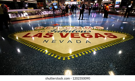 LAS VEGAS, NV/USA - 14 SEP 2018 - McCarran International Airport (LAS), located south of the Las Vegas strip, is the main airport in Nevada. There are slot machines in the airport.