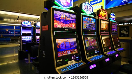 LAS VEGAS, NV/USA - 19 Sep 2018 - McCarran International Airport (LAS), located south of the Las Vegas strip, is the main airport in Nevada. There are slot machines in the airport.