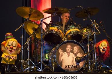 Las Vegas, NV/USA – 4/22/17: Brann Dailor performs with Mastodon at the inaugural Las Rageous music festival in Las Vegas.