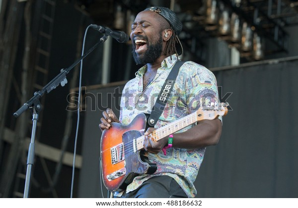 Las Vegas, NV/USA - 9/23/16: Kele Okereke of Bloc Party performs at Life Is Beautiful Music and Art Festival in Las Vegas, NV.  Bloc Party has been nominated for NME, PLUG and MTV Europe Awards.