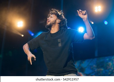 Las Vegas, NV/USA - 9/24/16: Jermaine Lamarr Cole known as J. Cole performs at Life Is Beautiful Festival in Las Vegas.  Cole has been nominated for several Grammy Awards.