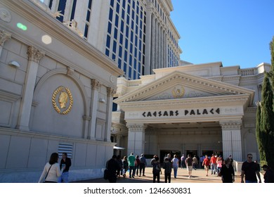 Las Vegas, NV/USA - January 5th 2012: People walking across the square in front of the main entrance portal of the Caesars Palace Hotel and Casino
