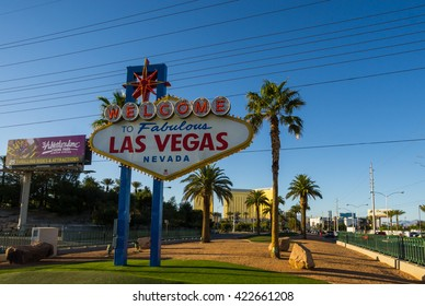 LAS VEGAS, NV/USA - MARCH 25: The famous Las Vegas sign on March 25, 2016.