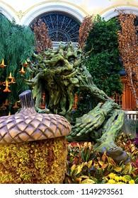 Las Vegas, NV/USA - Nov 1, 2017: Bellagio's Conservatory & Botanical Garden Harvest Display featuring Tree Man