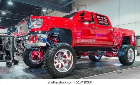 LAS VEGAS, NV/USA - NOVEMBER 1, 2016: GMC Sierra 1500 truck at the Specialty Equipment Market Association (SEMA) 50th Anniversary auto trade show. Booth: McGaughys Suspension