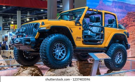 LAS VEGAS, NV/USA - NOVEMBER 1/2, 2018: A Nacho Jeep Wrangler MOPAR concept vehicle at the Specialty Equipment Market Association (SEMA) auto trade show.