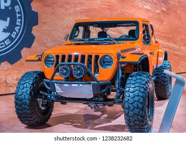 LAS VEGAS, NV/USA - NOVEMBER 2, 2018: A Jeep Wrangler Sandstorm MOPAR concept vehicle at the Specialty Equipment Market Association (SEMA) auto trade show.