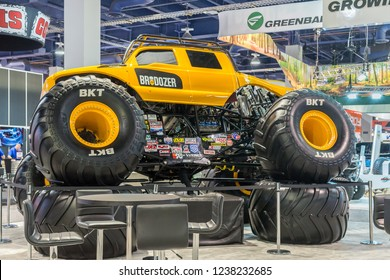 LAS VEGAS, NV/USA - NOVEMBER 2, 2018: BroDozer, a Ford F-350 Super Duty Crew Cab Monster Truck at SEMA. Drivers: Heavy D, Diesel Dave, Colt Stephens Builder: Diesel Brothers Owner: FELD Entertainment