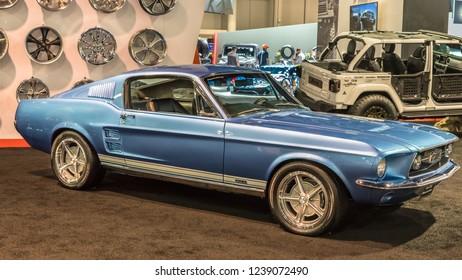 LAS VEGAS, NV/USA - NOVEMBER 2, 2018: A 1967 Ford Ford Mustang GTA at the Specialty Equipment Market Association (SEMA) auto trade show.