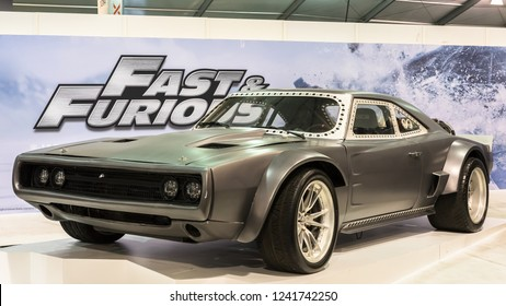 """LAS VEGAS, NV/USA - NOVEMBER 2, 2018: A 1968 Dodge Charger R/T in the """"Fast and Furious"""" (Fate of the Furious, F8) movie, at the Specialty Equipment Market Association (SEMA) auto trade show."""