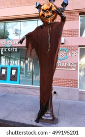 LAS VEGAS NV,USA - OCT 09 2016: Scary Horror Zombie Display in the LYNQ Las Vegas Strip Hotel and Casino at  Las Vegas.