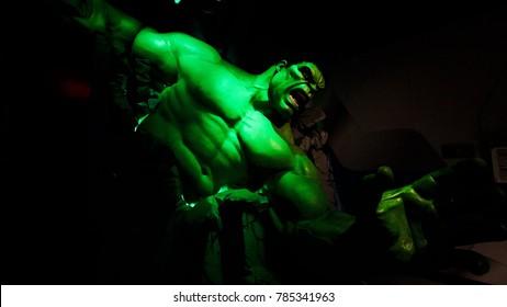 Las Vegas, NV/USA - Oct 09, 2017: The Incredible Hulk giant model figure at Madame Tussauds museum Las Vegas.Avengers.EndGame.