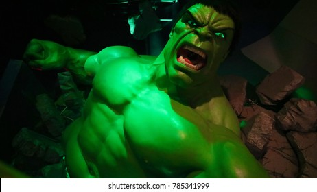 Las Vegas, NV/USA - Oct 09, 2017: The Incredible Hulk giant model figure at Madame Tussauds museum Las Vegas.Avengers.EndGame.