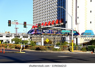 Las Vegas NV/USA - SEP 15 2018 : Monorail train in the Excalibur casino and resort at Las Vegas . This type of transport is very popular in Las Vegas.