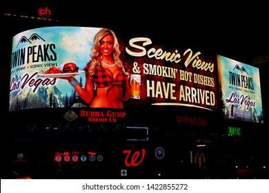Las Vegas, NV/USA, Sep 15, 2018: The beautiful neon sign at the Las Vegas boulevard.
