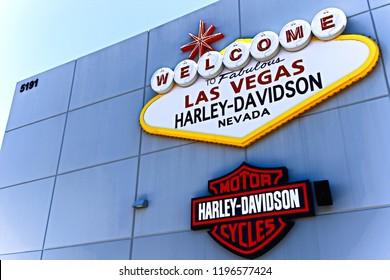 Las Vegas, NV/USA - SEP 15,2018: Welcome sign at Harley Davidson Motorcycle Dealership & Store Las Vegas.