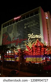 LAS VEGAS, NV/USA - SEP 16,2018: Exterior views of the Flamingo Casino Resort on the Las Vegas Strip.The hotel opened by Bugsy Segal on 1946 and it's the oldest resort on the Strip.