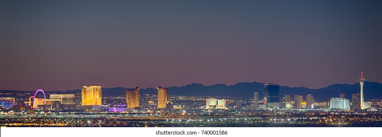LAS VEGAS, NV/USA - September 24, 2017: Skyline view at twilight of the famous Las Vegas Strip, with mountains silhouetted in the background.
