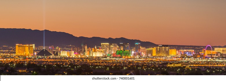 LAS VEGAS, NV/USA - September 24, 2017: Skyline view at sunset of the famous Las Vegas Strip, with mountains silhouetted in the background.
