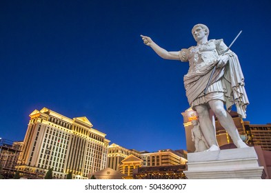 LAS VEGAS - OCT 05 : The Caesars Palace hotel on October 05 , 2016 in Las Vegas. Caesars Palace is a luxury hotel and casino located on the Las Vegas Strip. Caesars has 3,348 rooms in five towers