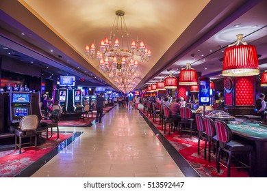 LAS VEGAS - OCT 05 : The Cromwell Hotel casino interior in Las Vegas on October 05 2016 ,The hotel reopened in 2014, and it has 188 rooms and a casino with 40,000 square feet of gaming space.