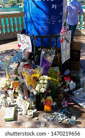 LAS VEGAS - OCT 07 ,2017 : Memorial Message and flowers to the Las Vegas Shooting victims on the Las Vegas Strip .Movement to regulate the gun.Gun shooting incident.