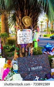 LAS VEGAS - OCT 07 ,2017 : Memorial Message of the Las Vegas Shooting victims on the Las Vegas Strip Near the Mandalay Bay.Movement to regulate the gun.Gun shooting incident.