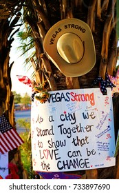 LAS VEGAS - OCT 07 ,2017 : Memorial Message of the Las Vegas Shooting victims on the Las Vegas Strip Near the Mandalay Bay.Gun shooting incident.