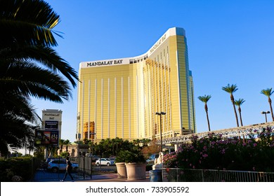 LAS VEGAS - OCT 07 ,2017 : Mandalay Bay after the shoot incident on the Las Vegas Strip