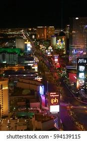LAS VEGAS - Oct 09: Night Panorama of Las Vegas Boulevard The Strip. Hotels and casinos of Las Vegas gambling capital. Night life. Oct 09 2016 Las Vegas Nevada USA