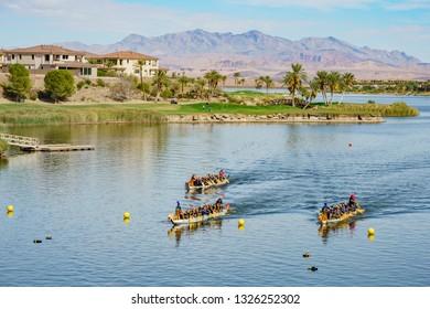 Las Vegas, OCT 13: Rowing the dragon boat in the famous Rose Regatta Dragon Boat Festival on OCT 13, 2018 at Las Vegas, Nevada