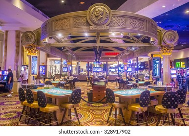 LAS VEGAS - OCT 15 : The casino of Ceasars Palace on October 15, 2015 in Las Vegas. Caesars Palace is a luxury hotel and casino located on the Las Vegas Strip. Caesars has 3,348 rooms in five towers