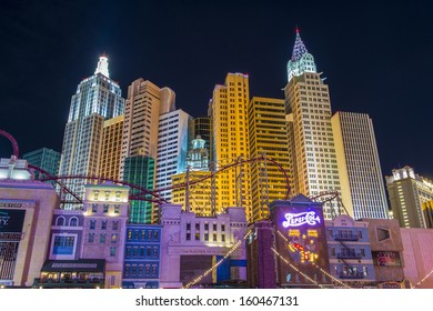 LAS VEGAS - OCT 23 : New York-New York Hotel & Casino in Las Vegas on October 23 2013; This hotel simulates the real New York City skyline and It was opened in 1997.