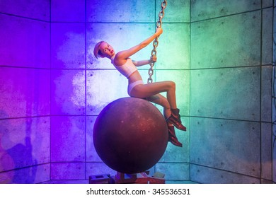 LAS VEGAS - OCT 23 : A waxwork of Miley Cyrus at The Madame Tussauds museum in Las Vegas on October 23 2015 , The two-floor 30,000-square-foot museum has 100-plus wax replicas.