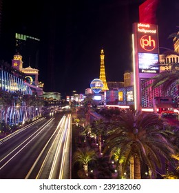 LAS VEGAS - OCT 29 : View of the strip on October 29, 2014 in Las Vegas. The Las Vegas Strip is an approximately 4.2-mile stretch of Las Vegas Boulevard in Clark County, Nevada.