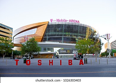 LAS VEGAS - October 10 : The T-Mobile arena in Las Vegas on October 10 2017. The arena is located west of the Las Vegas Strip and has 20,000 seat capacity