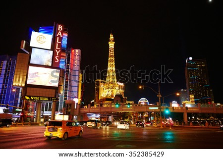 LAS VEGAS - OCTOBER 19: The Paris Las Vegas hotel and casino on October 19, 2015 in Las Vegas