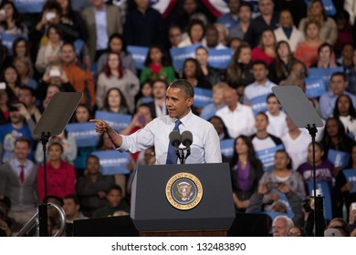 LAS VEGAS - OCTOBER 24: Barack Obama speaks at a campaign rally at Doolittle Park on October 24, 2012 in Las Vegas, Nevada