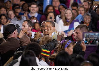 LAS VEGAS - OCTOBER 24: Barack Obama among his supporters at a rally at Doolittle Park on October 24, 2012 in Las Vegas, Nevada