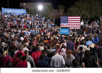 LAS VEGAS - OCTOBER 24: Campaign rally of Barack Obama at Doolittle Park on October 24, 2012 in Las Vegas, Nevada