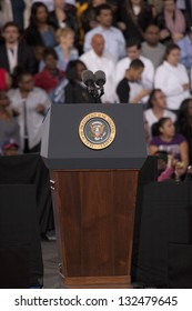 LAS VEGAS - OCTOBER 24: Empty podium at President Obama`s Campaign Rally at Doolittle Park on October 24, 2012 in Las Vegas, Nevada