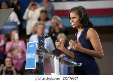 LAS VEGAS - OCTOBER 26: First Lady Michelle Obama speaks at President Obama`s campaign rally on October 26, 2012 at Orr Middle School in Las Vegas, Nevada.